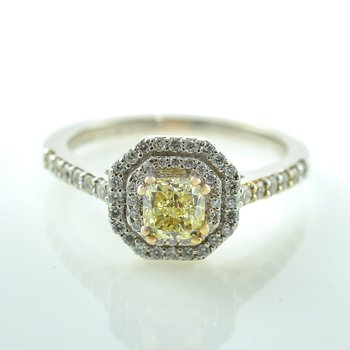 0.52CT Cushion Cut Canadian Yellow Diamond Double Halo Engagement Ring