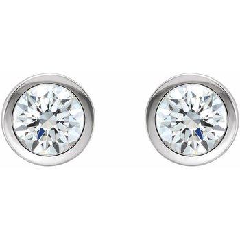 0.30CT TW Bezel Set Diamond Stud Earrings