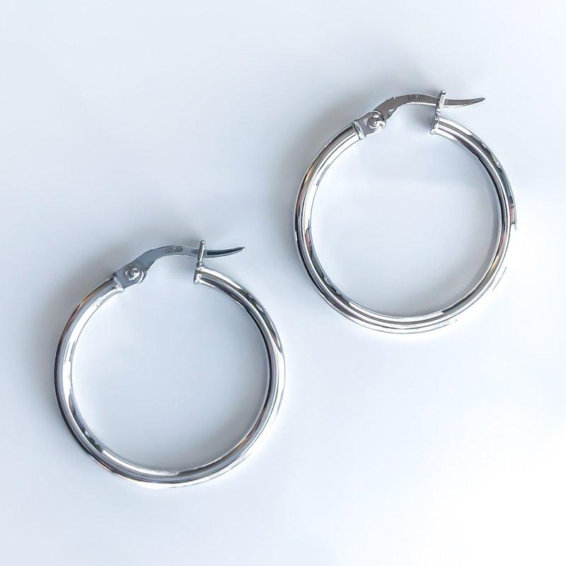 Tecimer & Johns White Gold Hoop Earrings (25mm)