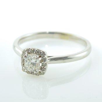 0.37CT Cushion Cut Halo Engagement Ring