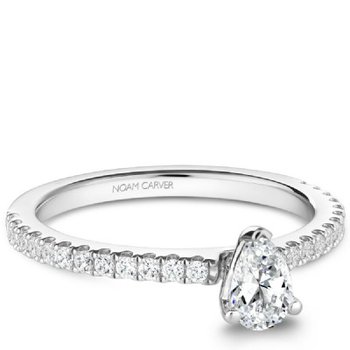 0.50CT Pear Shaped Side-Stone Solitaire Engagement Ring