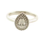 T & T Jewellers 0.37CT Double Halo Pear Shaped Engagement Ring