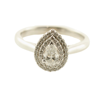 0.37CT Double Halo Pear Shaped Engagement Ring