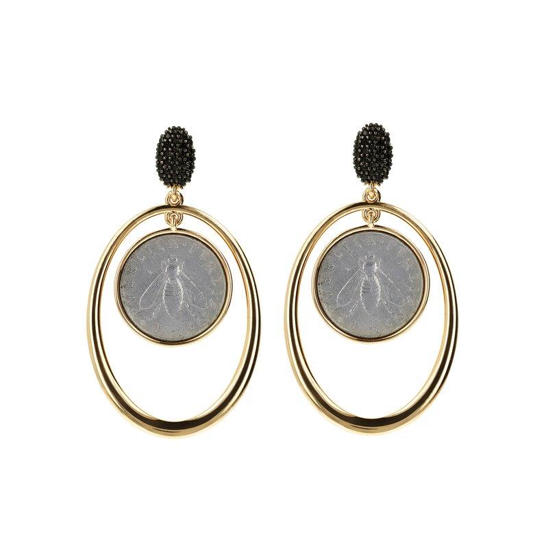Etrusca Gioielli Bee Coin Drop Earrings