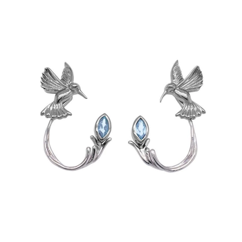 Hummingbird Earrings (Blue Topaz)