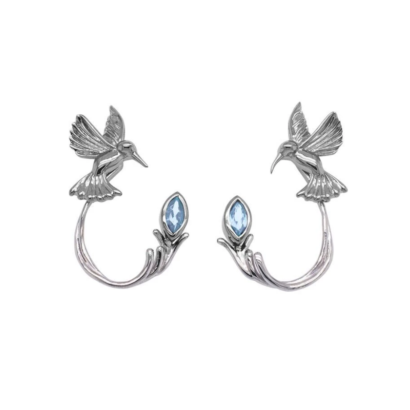 Keith Jack Hummingbird Earrings (Blue Topaz)