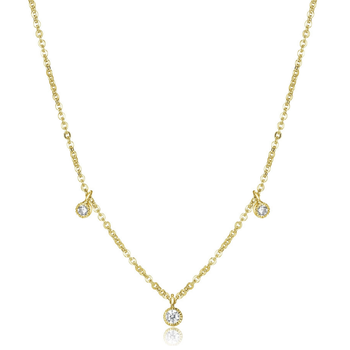 Gold Plated Cubic Zirconia Sprinkle Necklace