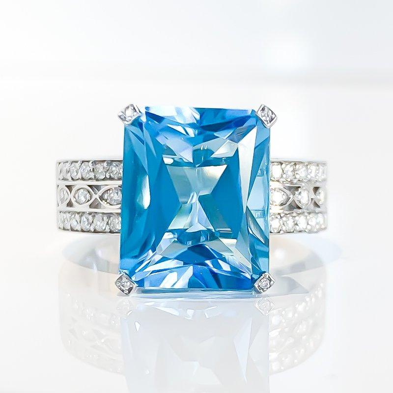 Corona Blue Topaz & Diamond Ring