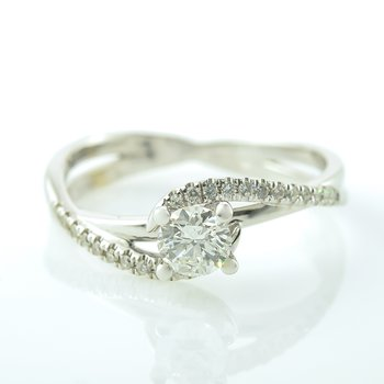 0.36CT Side-Stone Solitaire Engagement Ring