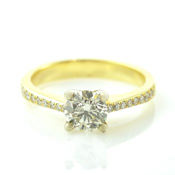 0.73CT Yellow Gold Side-Stone Solitaire Engagement Ring