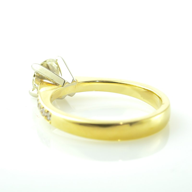 T & T Jewellers 0.73CT Yellow Gold Side-Stone Solitaire Engagement Ring