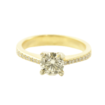 0.73CT Side-Stone Solitaire Engagement Ring