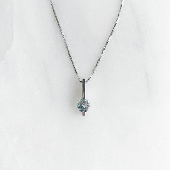 White Gold Aquamarine Bar Necklace