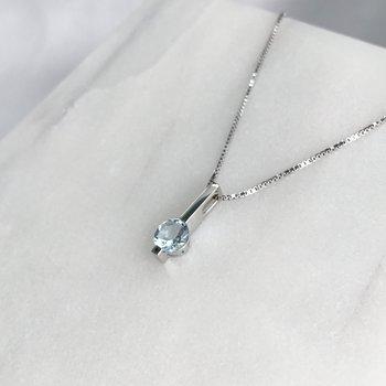 White Gold Aquamarine Bar Necklace