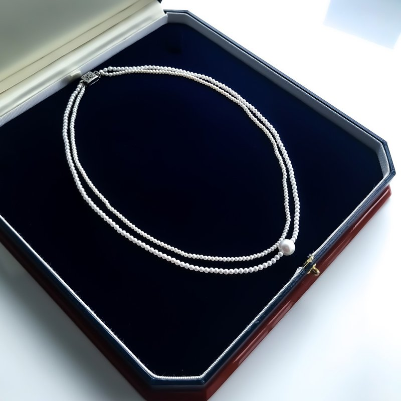 HJ Pearl Collection Double Strand Akoya Center Freshwater Pearl Strand