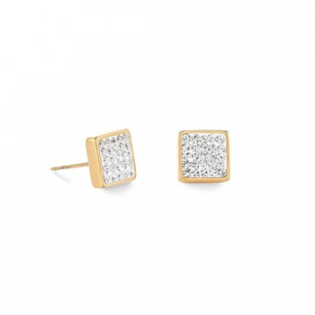 Yellow Gold Plated Crystal Stud Earrings