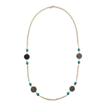 Turquoise & Coin Rolo Necklace