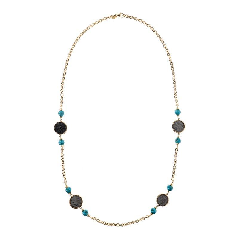 Etrusca Gioielli Turquoise & Coin Rolo Necklace