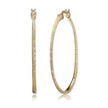 Yellow Gold Plated CZ Hoop Earrings