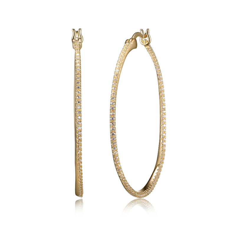 Reign Yellow Gold Plated CZ Hoop Earrings
