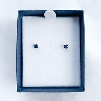 Stainless Steel Sapphire Stud Earrings