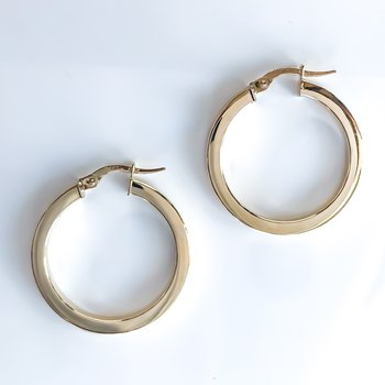 Yellow Gold Hoop Earrings (25mm)