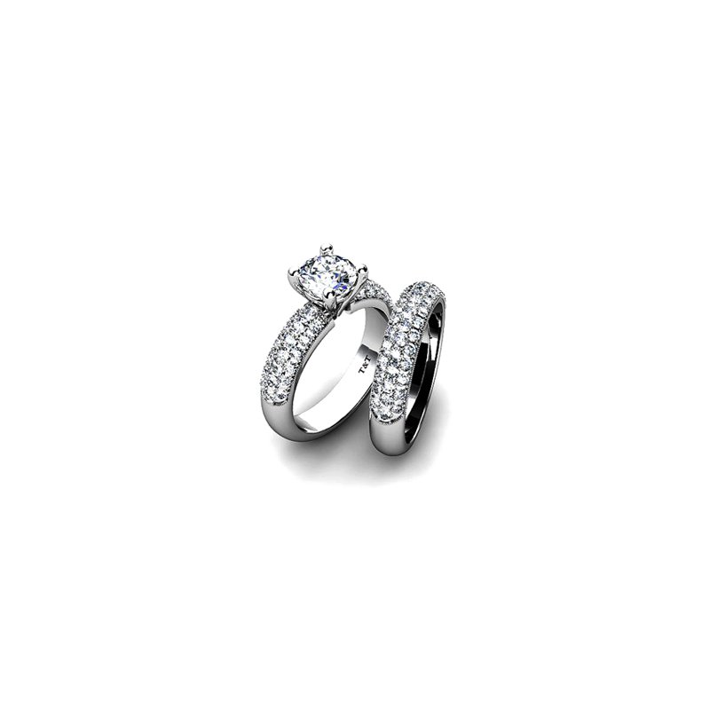 T & T Jewellers Side-Stone Solitaire Engagement Ring