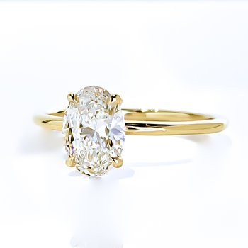 1.01CT Oval Shaped Lab Grown Diamond Solitaire Engagement Ring