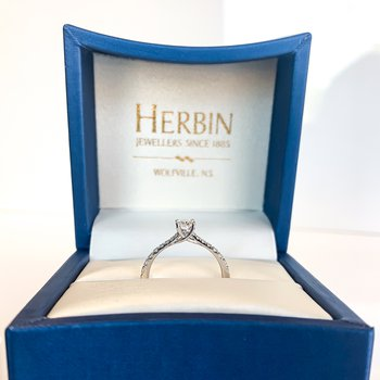 0.51CT Canadian Oval Side-Stone Solitaire Engagement Ring