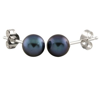 Black Pearl Stud Earrings (6mm)