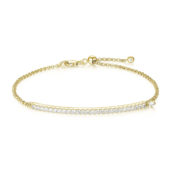 Yellow Gold Plated Cubic Zirconia Bar Bracelet