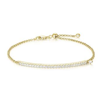 Yellow Gold Plated Cubic Zirconia Bar Bracelet