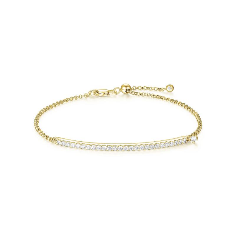 Reign Yellow Gold Plated Cubic Zirconia Bar Bracelet