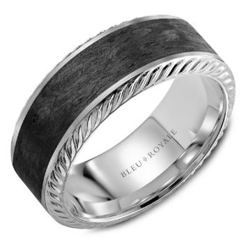 Black Carbon & White Gold Wedding Band