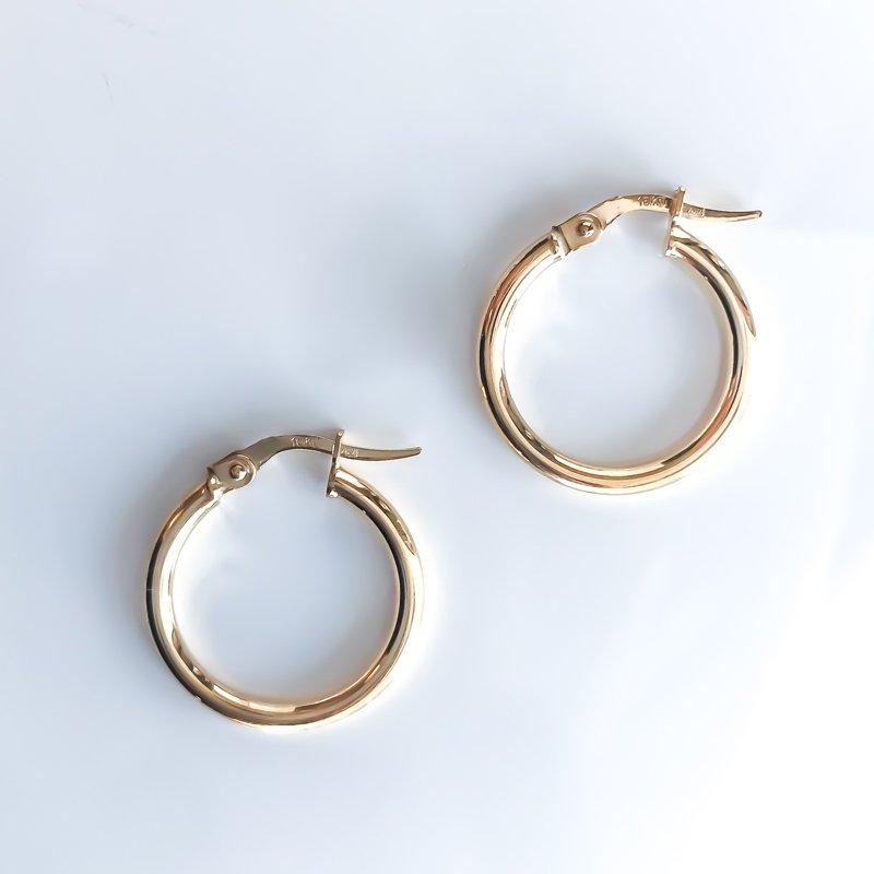 Tecimer & Johns Yellow Gold Hoop Earrings (20mm)