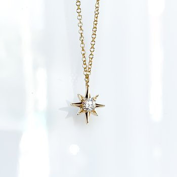 Yellow Gold Canadian Diamond Star Necklace