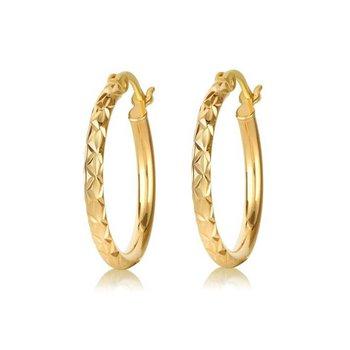 Gold Plated Diamond Cut Hoop Earrings