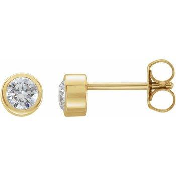 0.22CT TW Bezel Set Diamond Stud Earrings