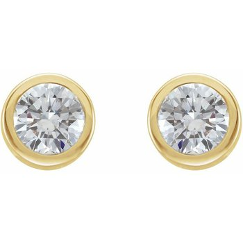 0.22CT TW Bezel Set Diamond Stud Earrings