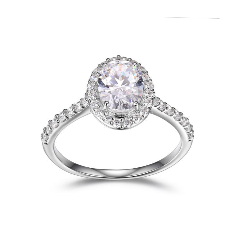 Reign Sterling Silver Oval Diamondlite Ring