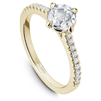Noam Carver 0.50CT Rose Cut Side Stone Solitaire Engagement Ring