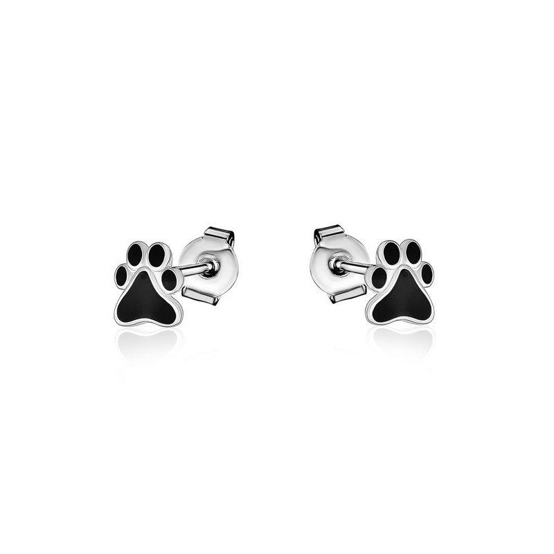 Larus Sterling Silver Paw Print Earrings