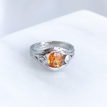 Custom Orange Sapphire & Diamond Ring