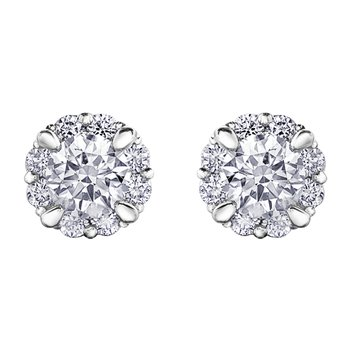 0.43CT TW Canadian Diamond Halo Stud Earrings