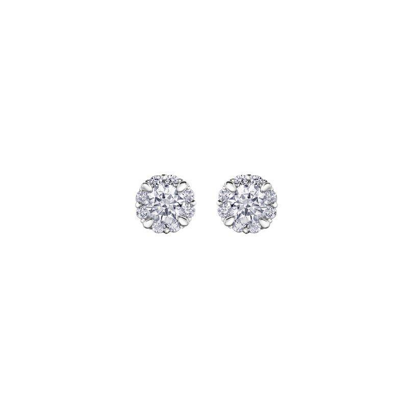 Corona 0.43CT TW Canadian Diamond Halo Earrings