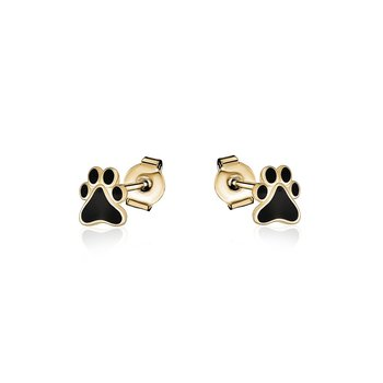 Yellow Gold Plated Paw Print Earrings