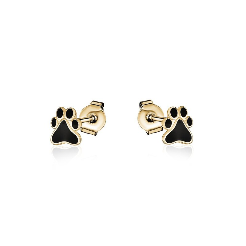 Larus Yellow Gold Plated Paw Print Earrings