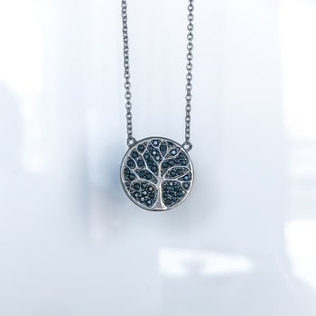 Black Cubic Zirconia Tree of Life Necklace