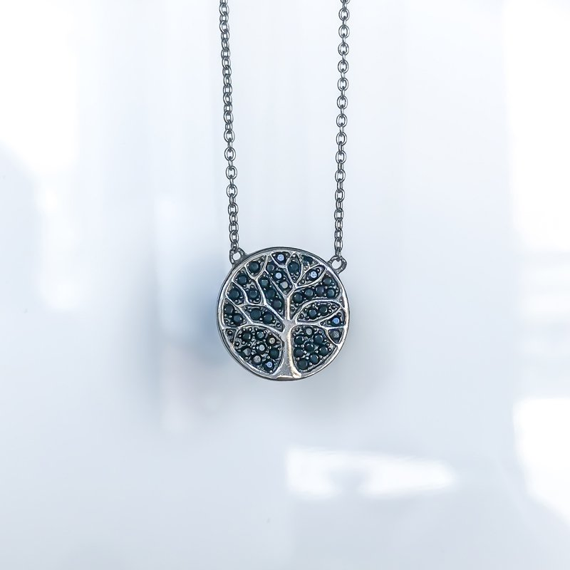 925 Solutions Black Cubic Zirconia Tree of Life Necklace