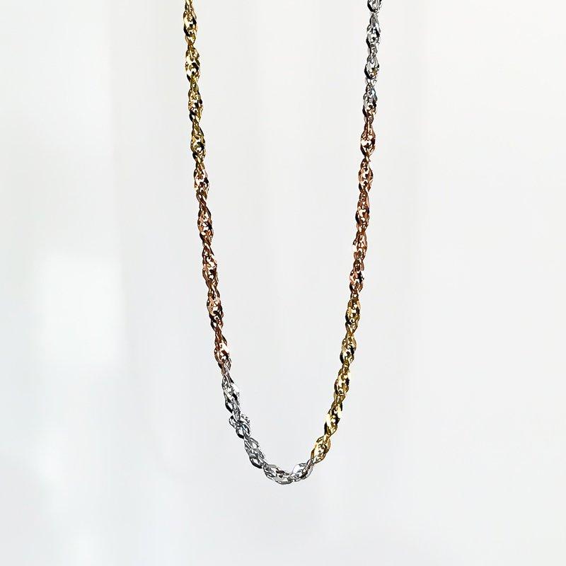"Tecimer & Johns Tri-Tone Gold Singapore Chain (16"")"
